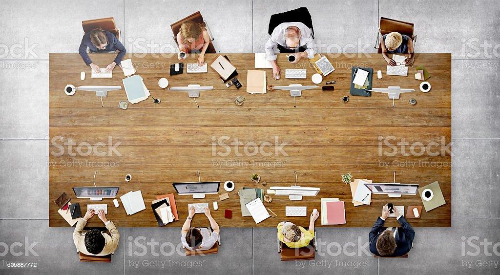 Reunião de equipe de negócios, conexão conceito de tecnologia Digital - foto de acervo