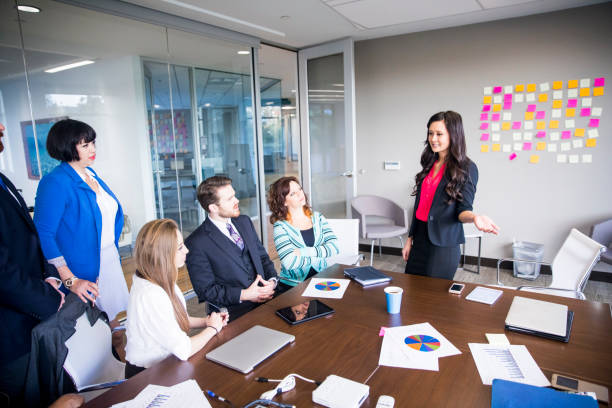 Business Team Meeting in the Conference Room stock photo