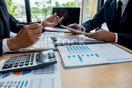 954578184 istock photo Business team meeting present. Professional investor working with new startup project. Digital tablet laptop computer design smart phone in office. 1094347976