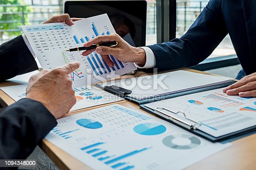 954578184 istock photo Business team meeting present. Professional investor working with new startup project. Digital tablet laptop computer design smart phone in office. 1094348000