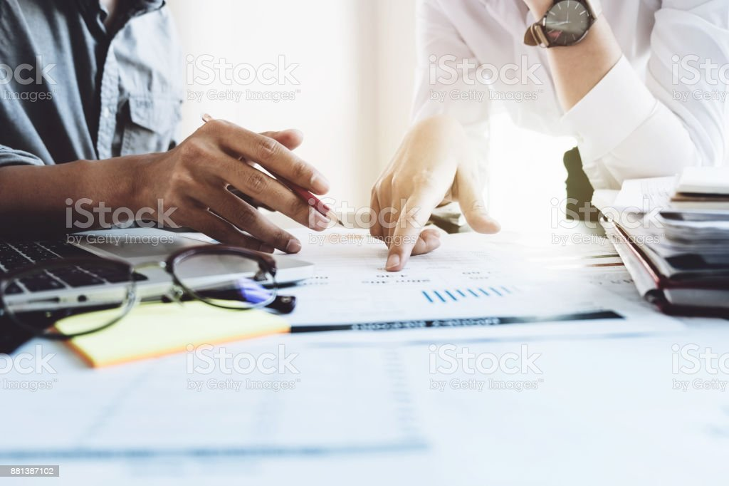Business team meeting present, Professional investor working with new startup project. Finance managers task with laptop computer, Business teamwork concept stock photo