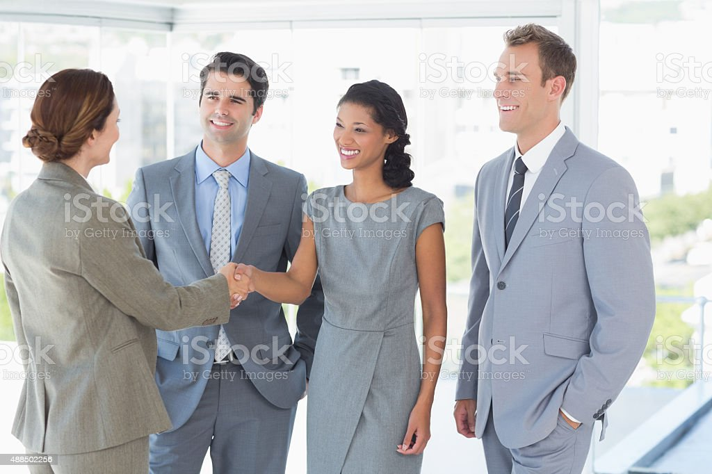 Business team meeting their partner stock photo