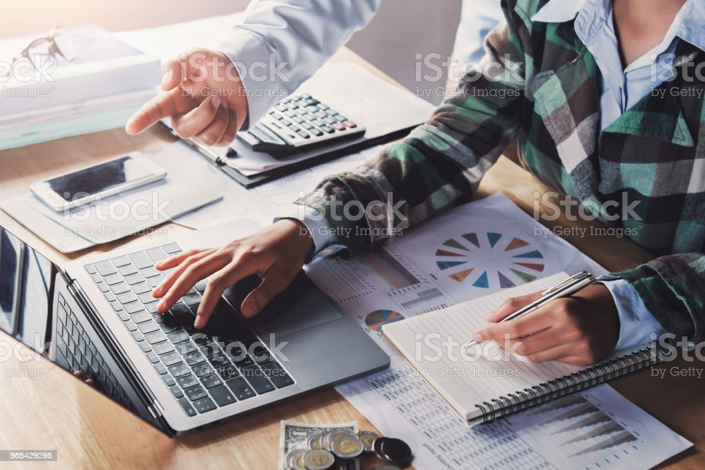 business team meeting working new project with using laptop in office. concept finance and accounting royalty-free stock photo
