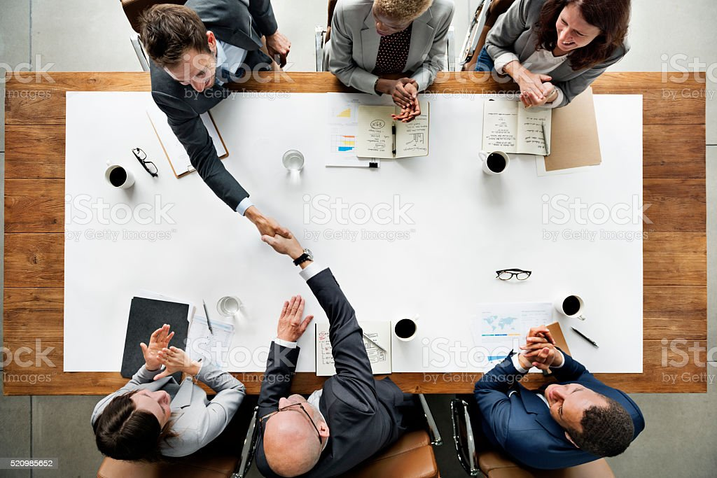 Business Team Meetng Handshake Applaud Concept stock photo
