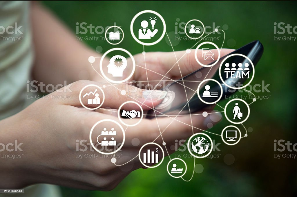 Business team network on smart phone. stock photo