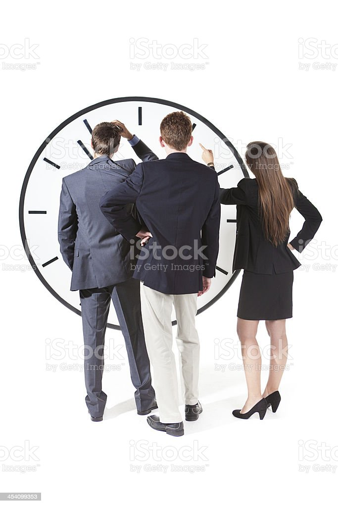 Business Team Office Workers Contemplating on Time and Deadline royalty-free stock photo