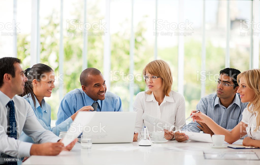 Business team on a meeting. stock photo