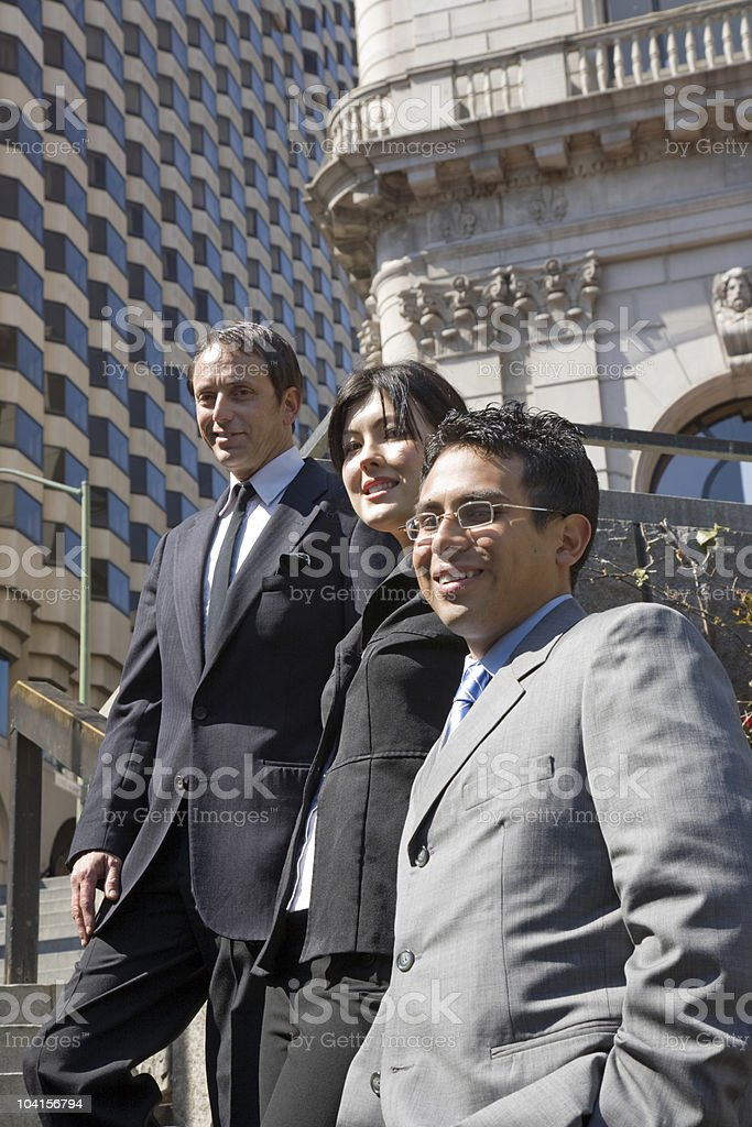 Business team on stairs royalty-free stock photo