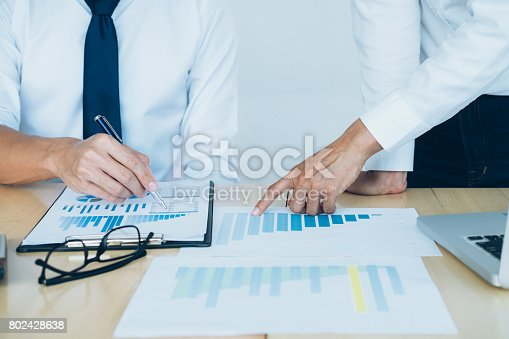 954578184 istock photo Business team present. Investor working new startup project. Finance meeting. 802428638