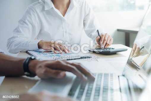 954578184 istock photo Business team present. Professional investor working new startup project. Finance meeting. 802428552