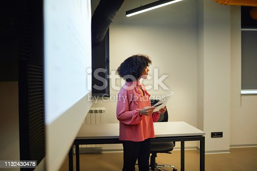 Business Team Presentation. Young woman have presentation in conference room. Standing and talking in front of projection screen.