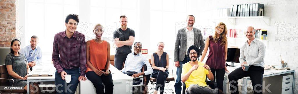 Negocios equipo de trabajo concepto de oficio con título - foto de stock