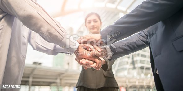 istock Business Team Stack Hands Support  together as a teamwork concepts 870879250