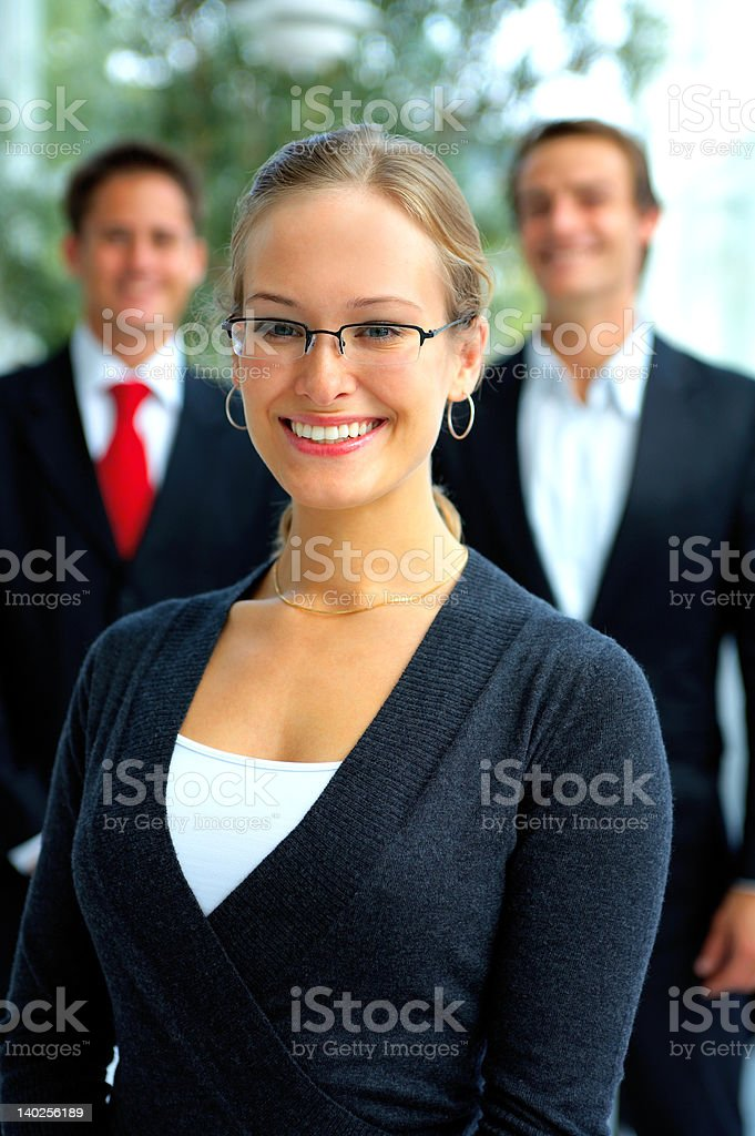 Business team supporting their leader royalty-free stock photo