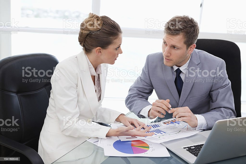 Business team talking about market research royalty-free stock photo