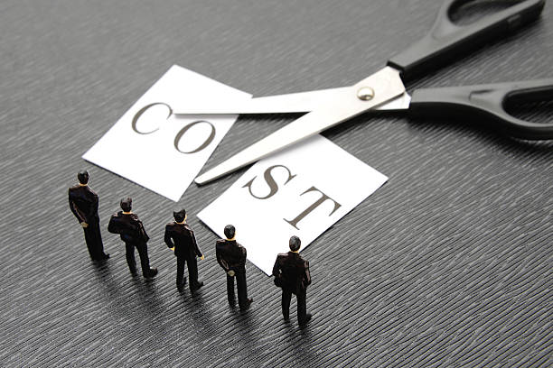 business team thinking about cost cut - ダウンジャケット ストックフォトと画像