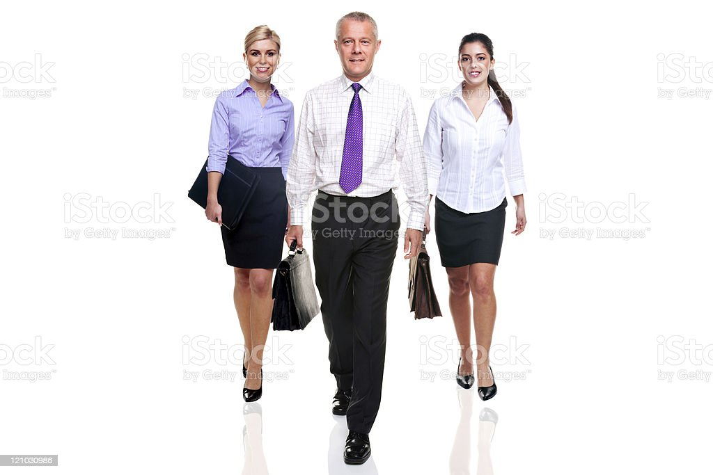 Business team three people walking stock photo
