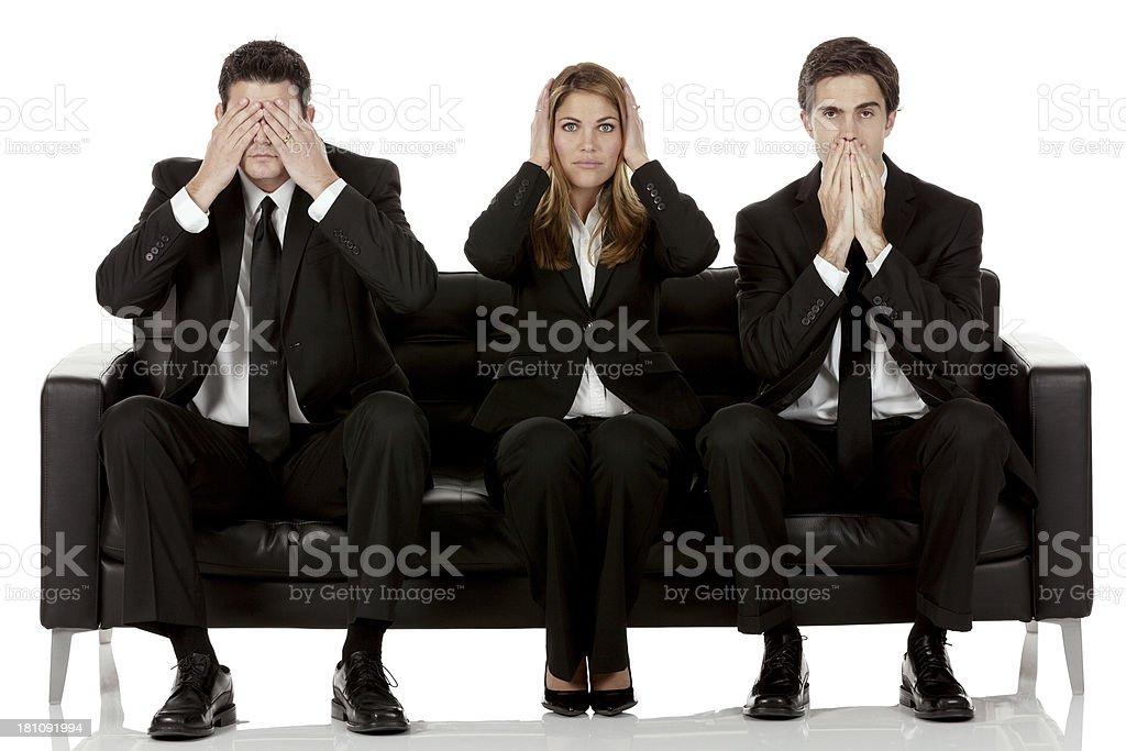 Business team - three wise monkeys stock photo