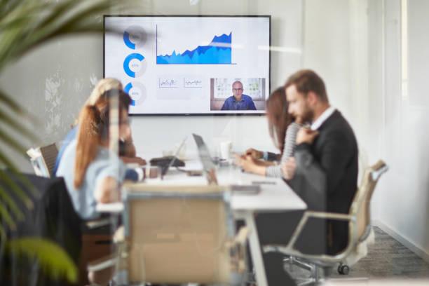 Business Team Videokonferenzen im Office Board Room – Foto