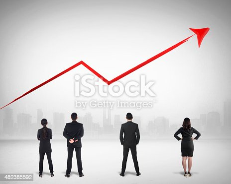 istock Business Team Watching Sales Grow Up 482385592