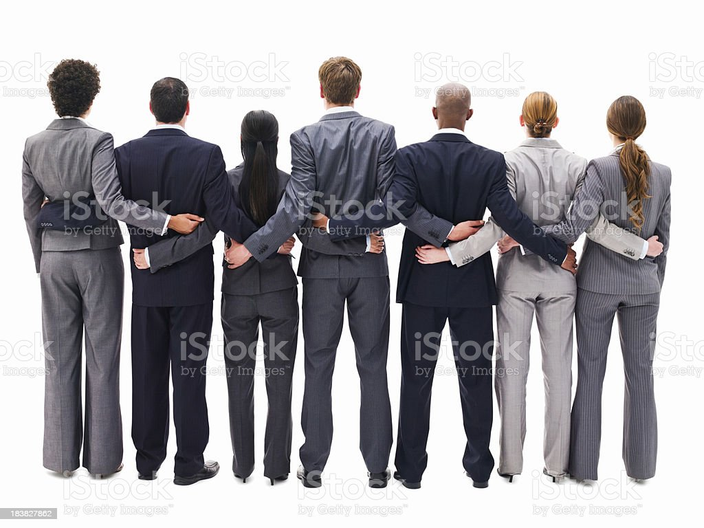 Business Team With Arms Around One Another  - Isolated stock photo