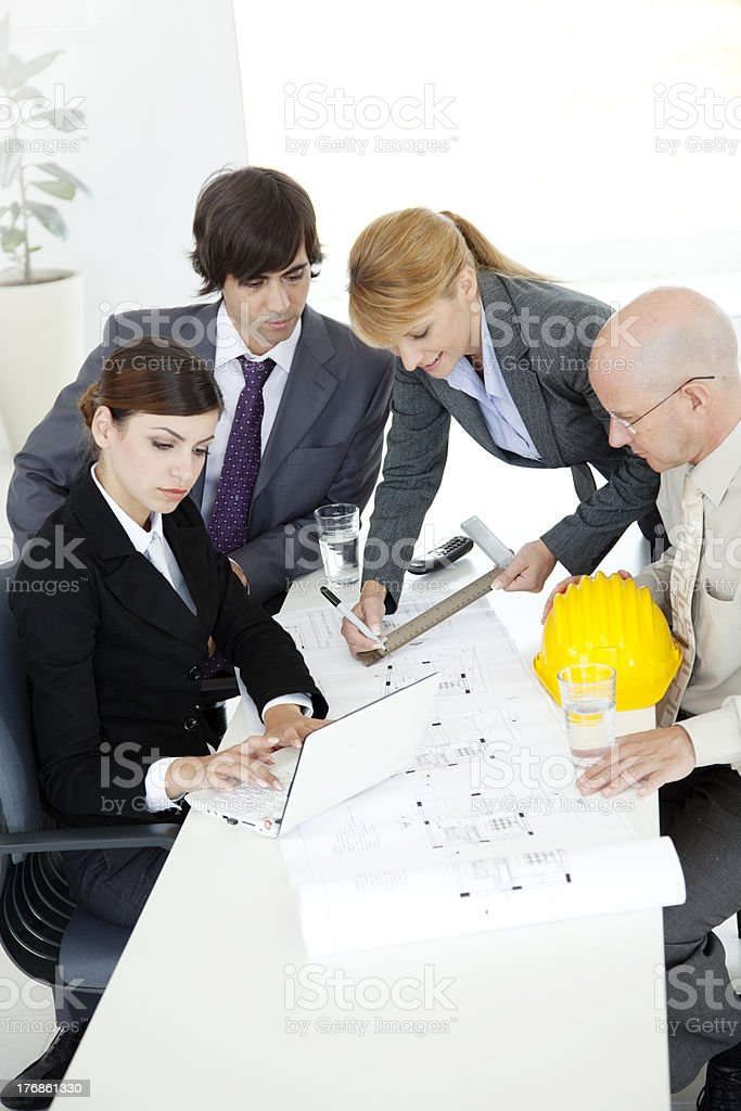 business team with blueprint royalty-free stock photo