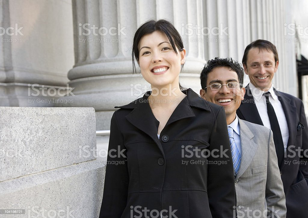 Business team with columns royalty-free stock photo