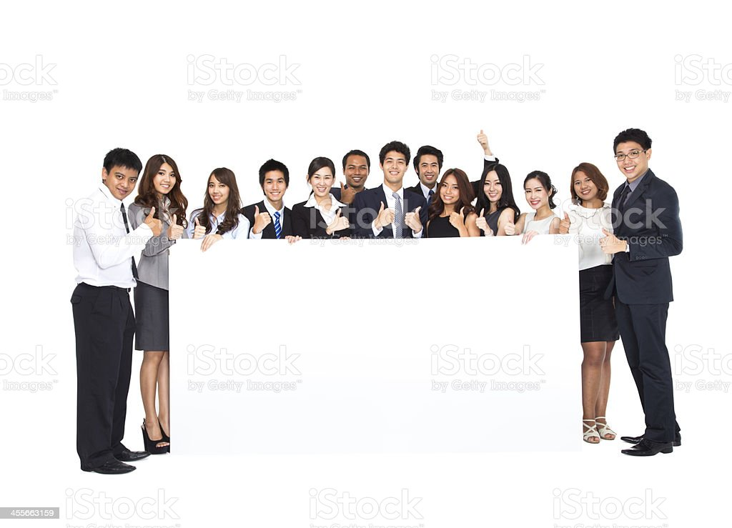 Business Team with empty banner royalty-free stock photo