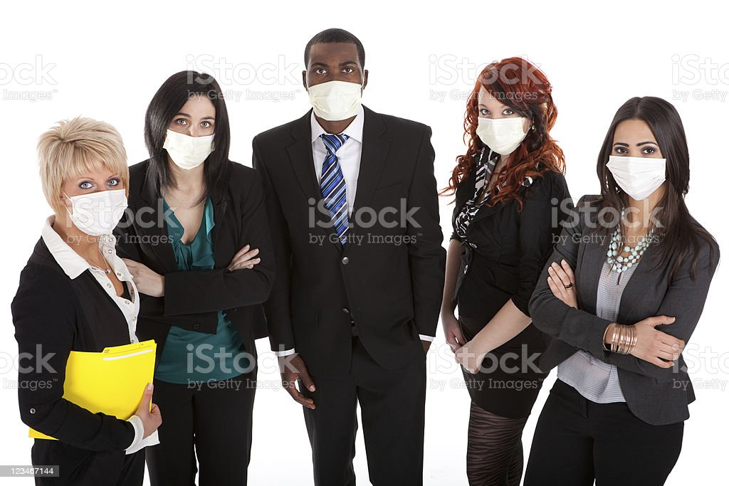 Business team with flu masks stock photo