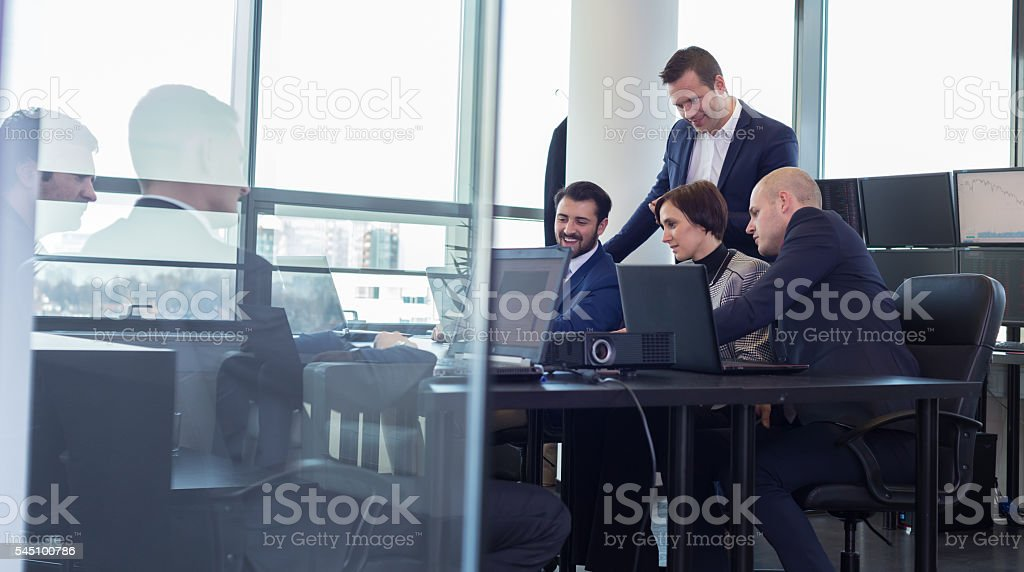 Business team working in corporate office. stock photo