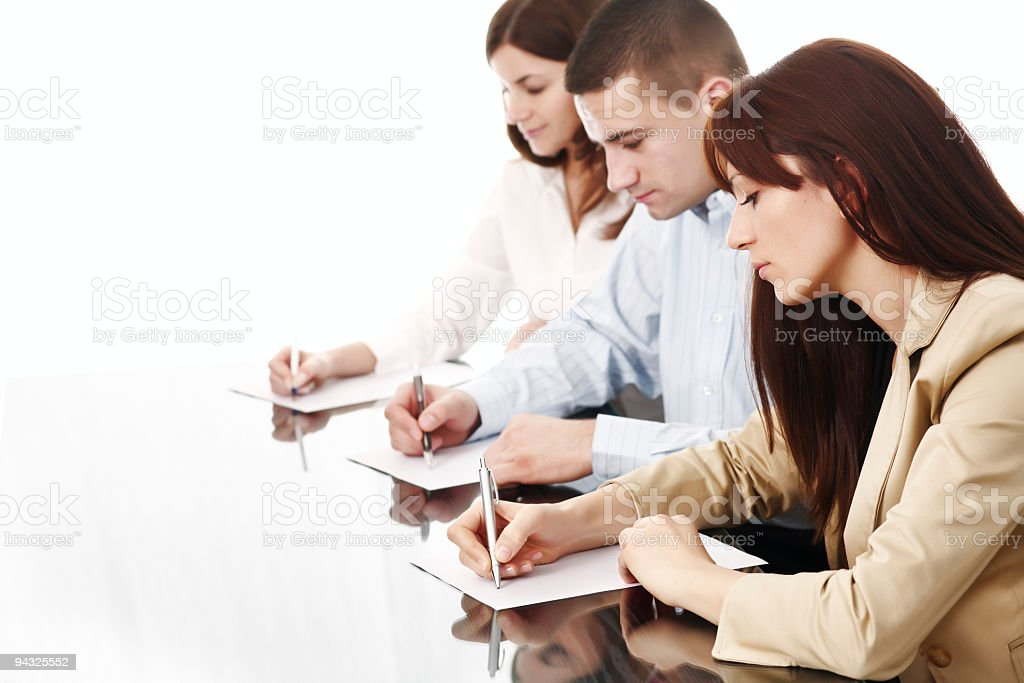 business team  writing on paper royalty-free stock photo