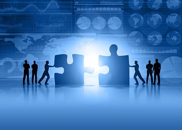 Travail d'équipe affaires et de la finance fond bleu - Photo