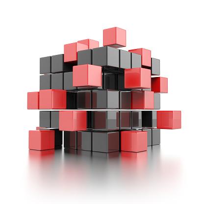 비즈니스 팀워크 개념은 3차원 형태에 대한 스톡 사진 및 기타 이미지