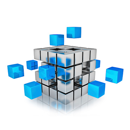 Business teamwork internet communication concept - cubes assembling into metal cubic structure isolated on white with reflection