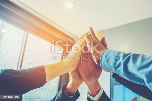 Business Teamwork joining hands team spirit Collaboration Concept