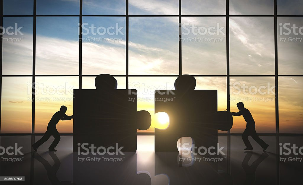 Business teamwork - puzzle pieces Business teamwork - puzzle pieces rendered by computer graphic 3D. Adult Stock Photo