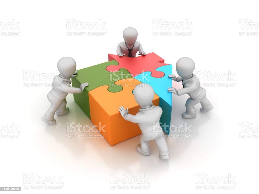 Business Teamwork with Puzzle House - 3D Rendering zbiór zdjęć royalty-free