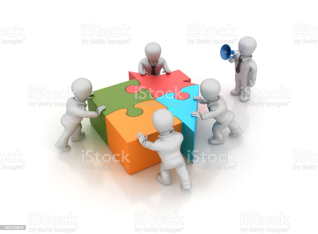 Business Teamwork with Puzzle House - 3D Rendering royalty-free stock photo