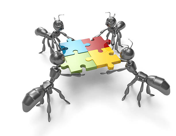 business teamwork-ants - ants working together stock photos and pictures