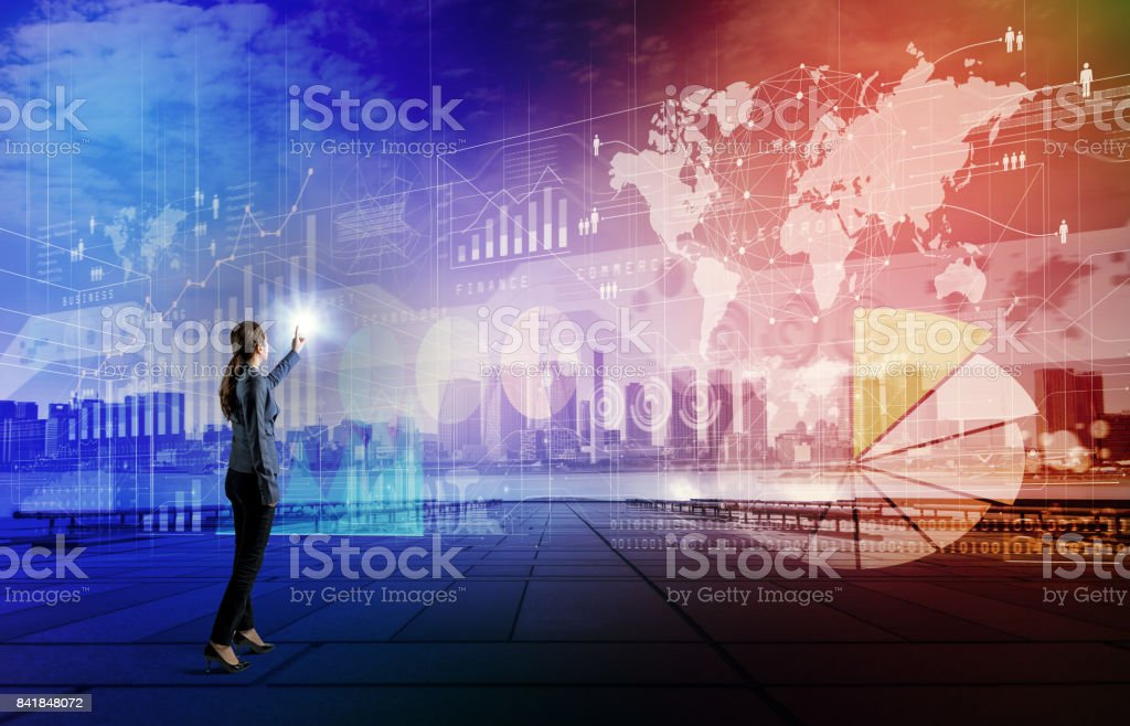 business technology abstract. IoT(Internet of Things). Smart City. ICT(Information Communication Technology). System Integration. stock photo
