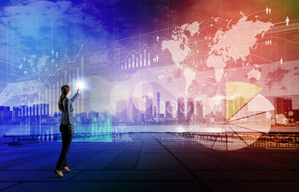 business technology abstract. iot(internet of things). smart city. ict(information communication technology). system integration. - business woman hologram imagens e fotografias de stock
