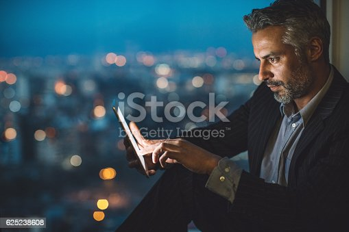 istock Business, technology and city lights 625238608