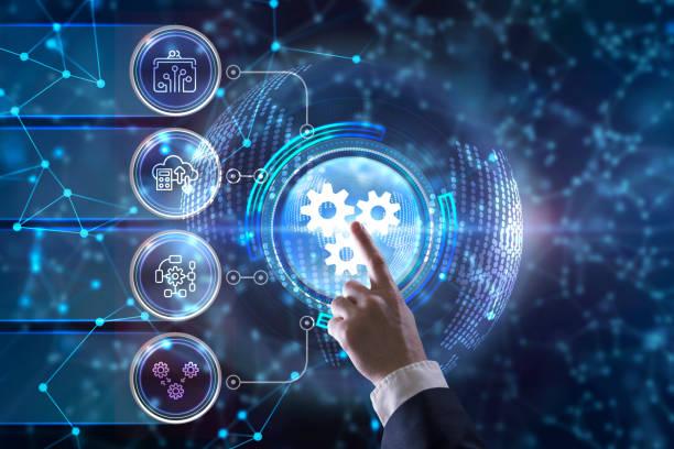 business, technologie, internet en netwerk concept. automation software technology process system. - automatisch stockfoto's en -beelden