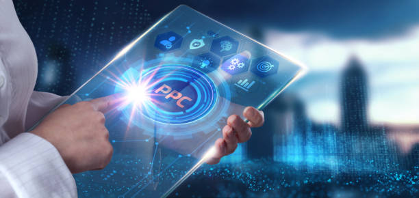 Business, Technology, Internet and network concept. PPC Pay per click payment. Technology digital marketing. stock photo