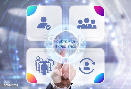 Business, Technology, Internet and network concept. Technology future. Young businessman, working on the smartphone of the future, clicks on the virtual display button: Customer Experience.