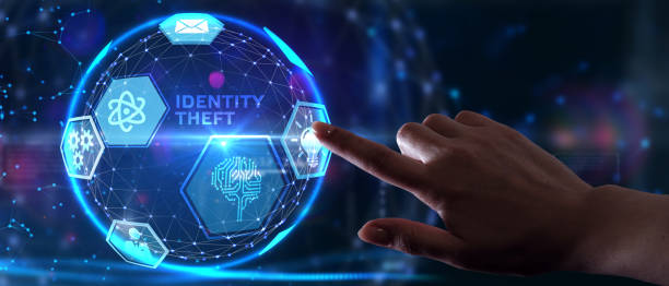 Business, Technology, Internet and network concept. Young businessman working on a virtual screen of the future and sees the inscription: identity theft stock photo