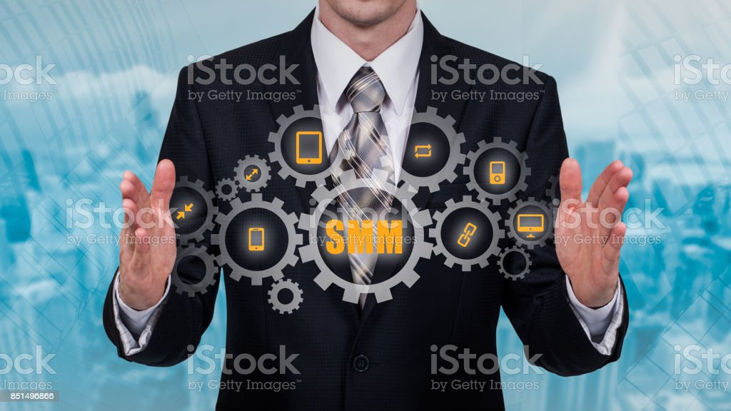 Business, technology, internet and networking concept. SMM - Social Media Marketing on the virtual display stock photo