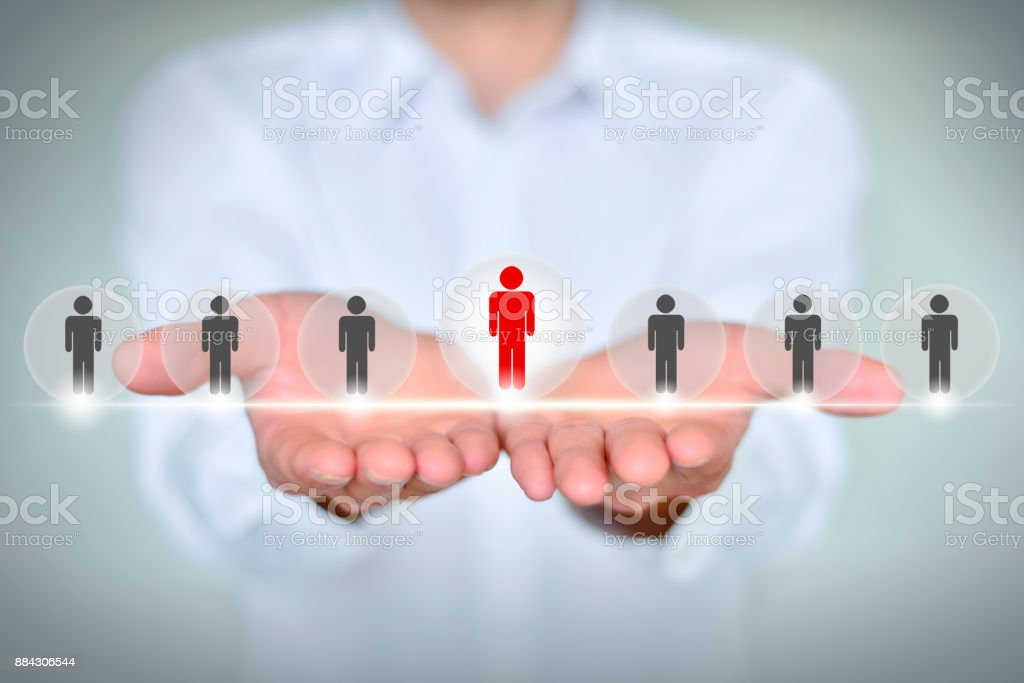 business, technology, internet, networking and recruitment concept - businessman show button on virt stock photo