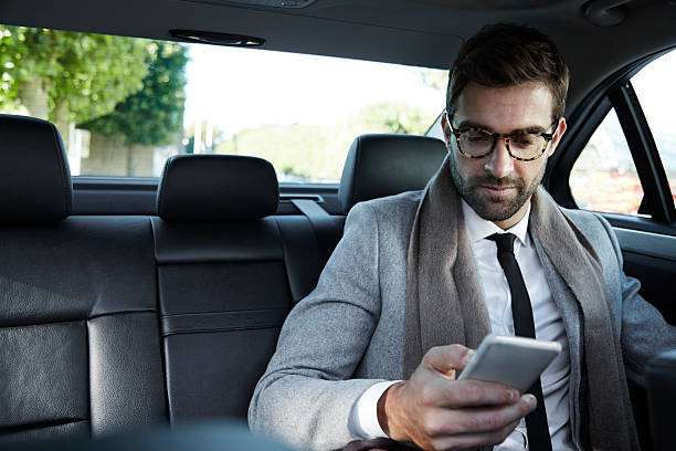 Business texting stock photo