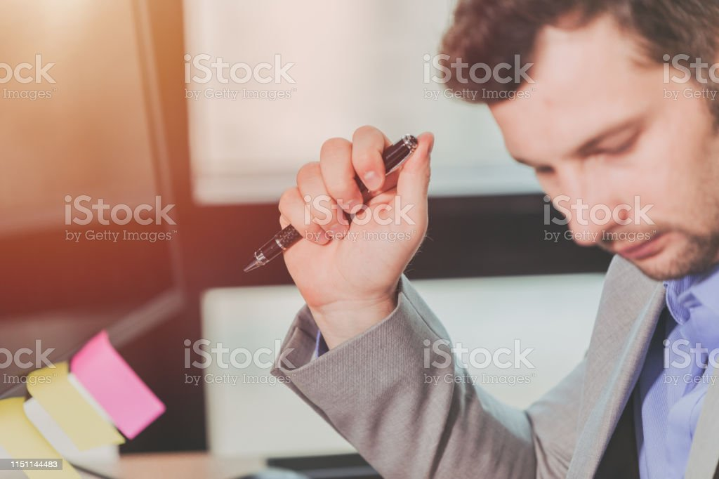 Business Thinking, Businessman Decision, Hand Holding Pen